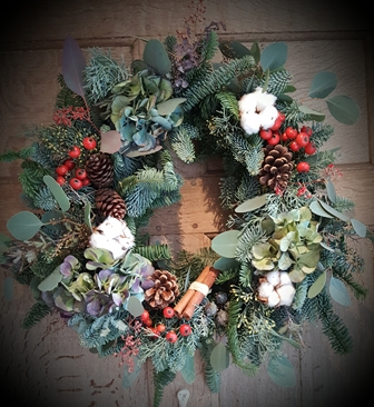 cotton rosehip wreath