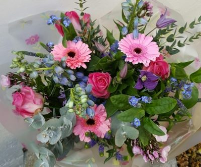 pink blue spring bouquet