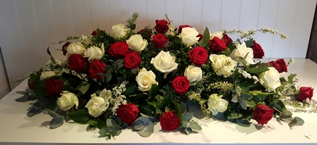 red and white rose double ended spray