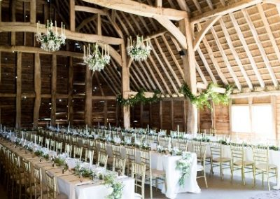 barn with table garlands