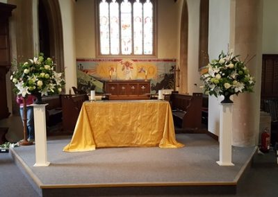 Lily and rose pedestals at St Mary's, Marlborough