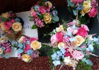 sky blue and pink wedding bouquets