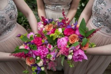 vibrant bridesmaid bouquets