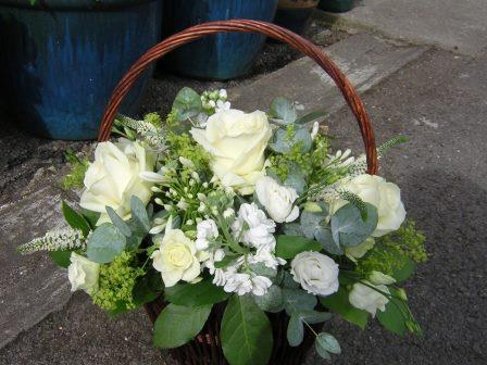 White floral basket 12""