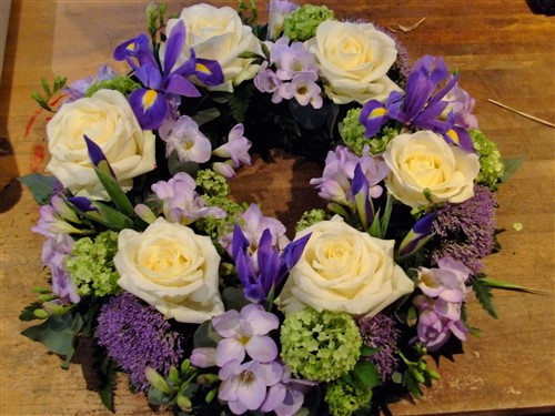 Small iris and rose wreath 12""
